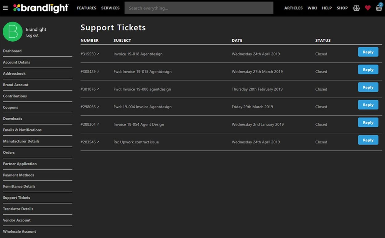 Support Ticket management and communication within user accounts