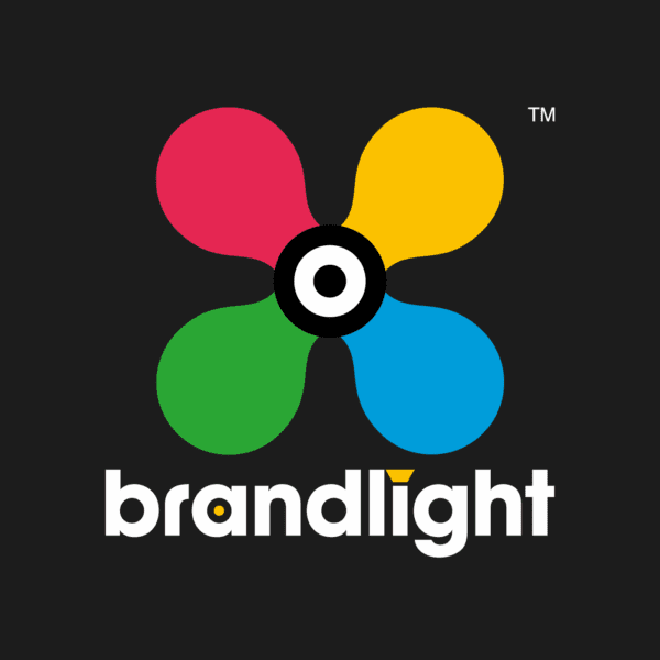brandlight logo multicolour and white on black