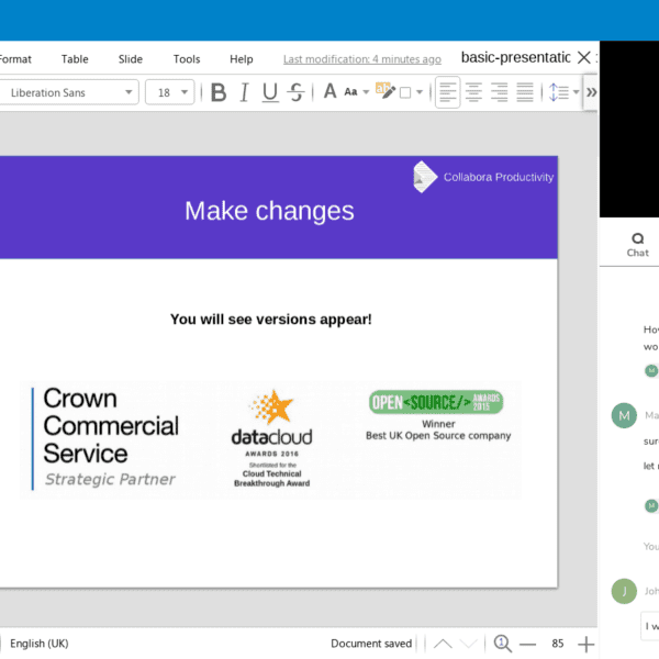 Collabora presentation file screenshot with video and comments in the sidebar