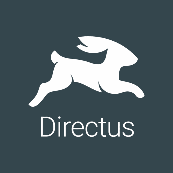 directus logo white on grey with a rabbit icon