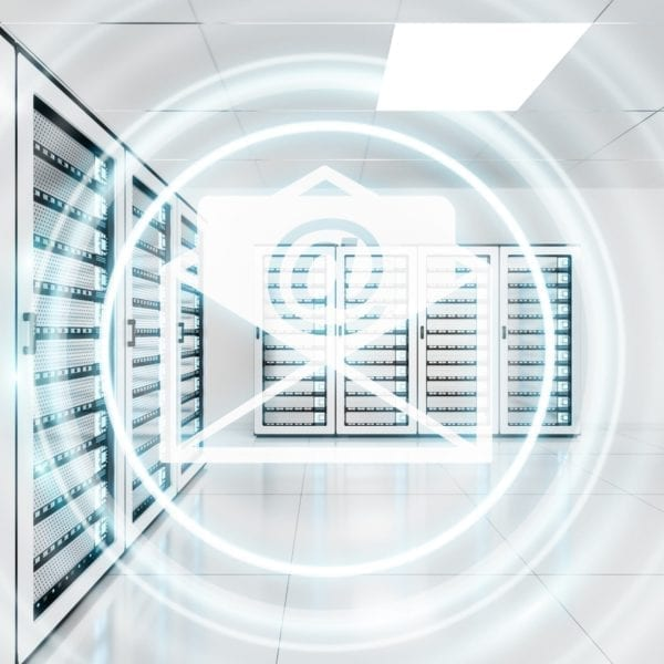 white server room with overlayed email icon and light circles