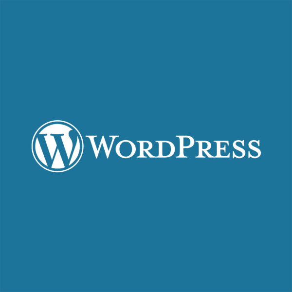 wordpress logo white on blue